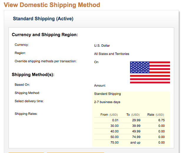 Domestic Shipping Rates